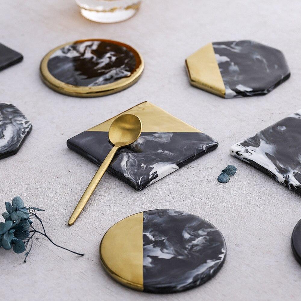 Posavasos de mármol negro dorado Nórdico 2 uds posavasos de cerámica sin aislamiento antideslizante tapete de vaso cuadrado redondo Decoración de mesa de hogar