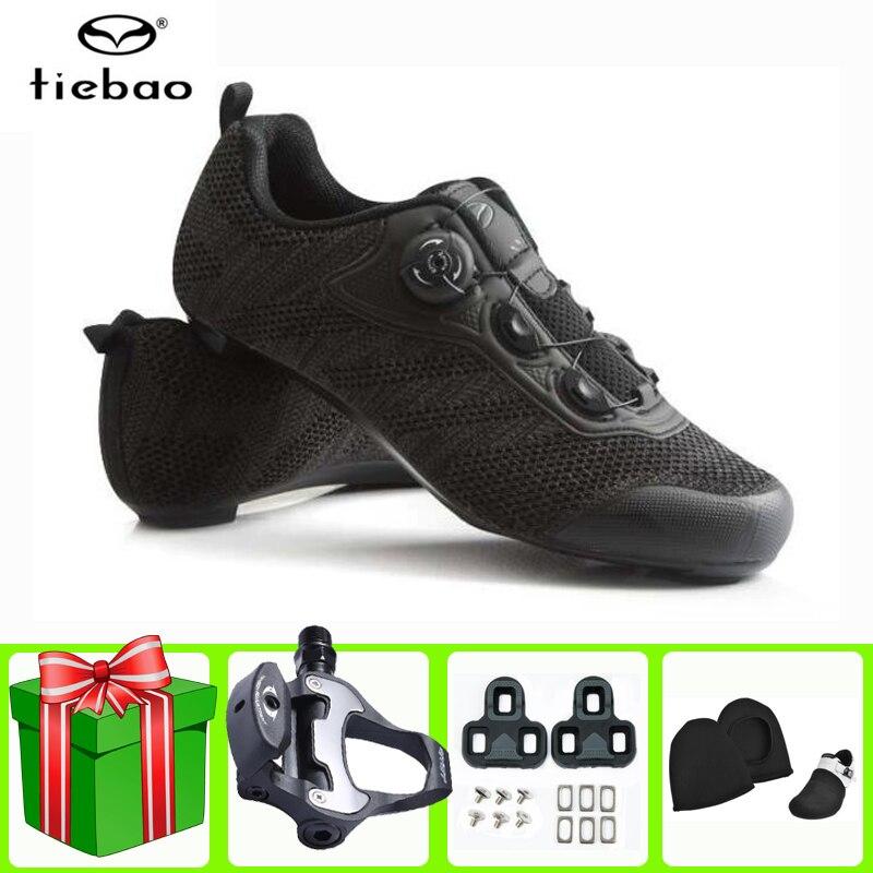 Tiebao дорожная велосипедная обувь с педалью в комплекте мужские кроссовки
