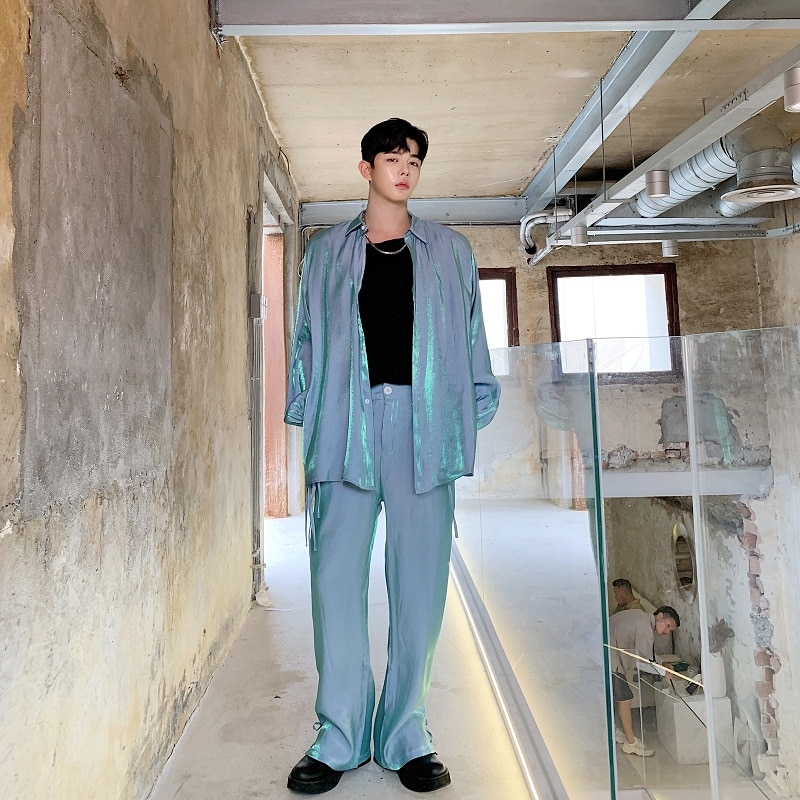 Male Women Vintage Fashion Streetwear Hip Hop Shirt Men 2PCS Sets (shirt+pant) Long Sleeve Loose Casual Shirt