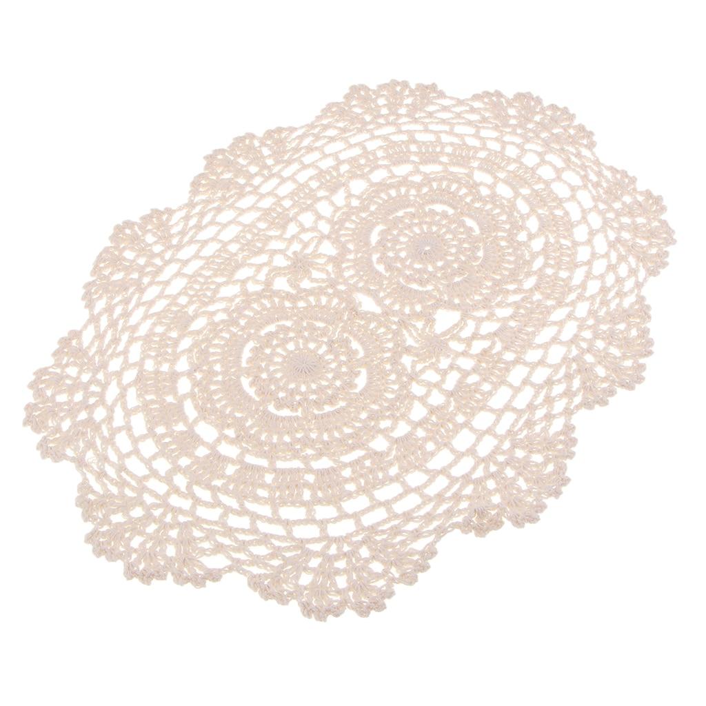 Manteles Individuales de encaje de algodón de ganchillo Doilies Oval, Beige, 25x35cm, tapete de vaso artesanal/tapete para decoraciones de mesa de banquete de boda.