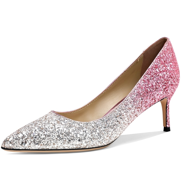 Temperament Elegant Wedding Shoes Pointed Shallow Mouth Single Shoes Sequins High Heels Party Dress Bridesmaid Shoes Women M0097