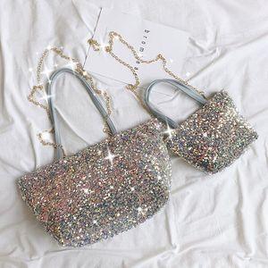 Female Bag tote Shiny Handbag 2021 Korean Version Of Large Capacity One-shoulder Chain Messenger Bag