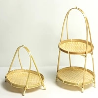 bamboo weaving straw baskets tier rack wicker fruit bread food storage kitchen decorate round plate stand container