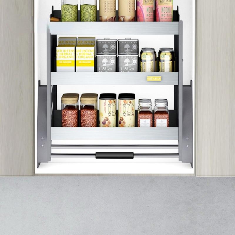 Armario de pared de tres capas, cesta de elevación, mueble de cocina de acero inoxidable, almacenamiento, cesta de condimentos