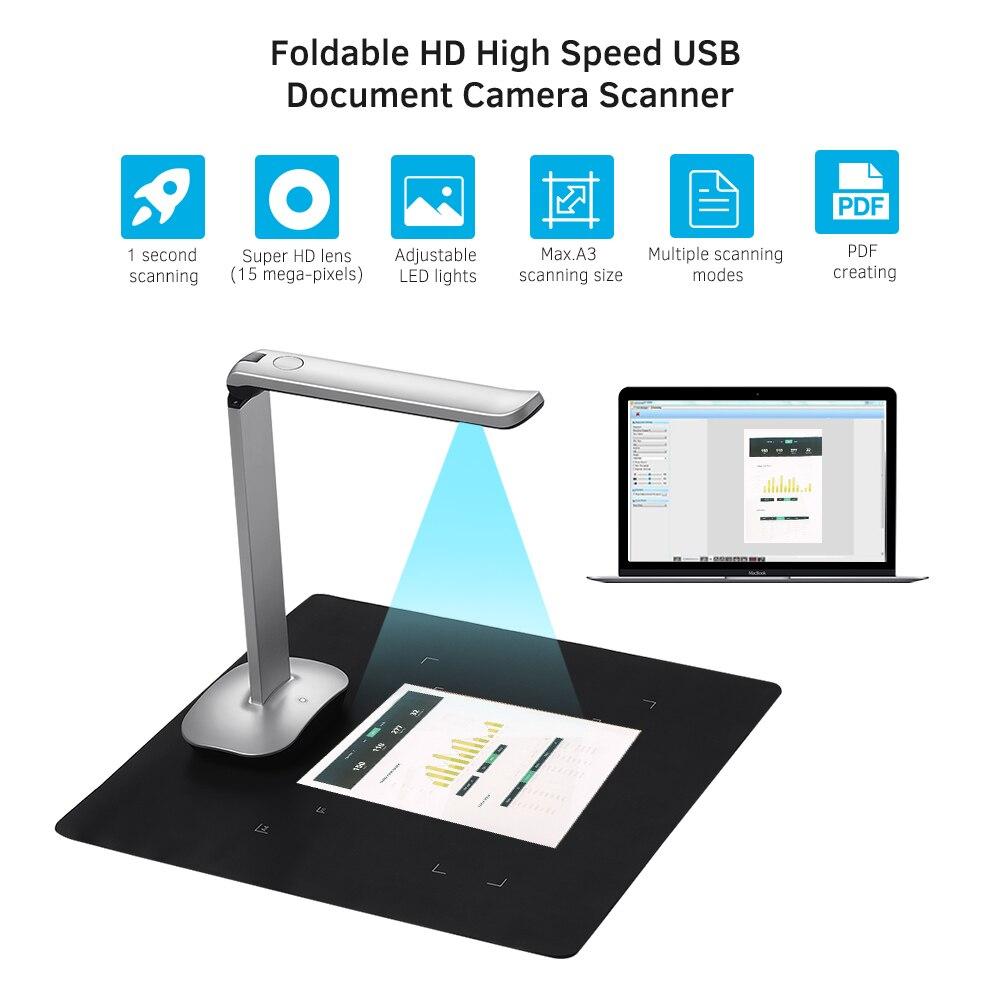 Escáner de cámara de documentos Aibecy F50 plegable HD USB Book 15...