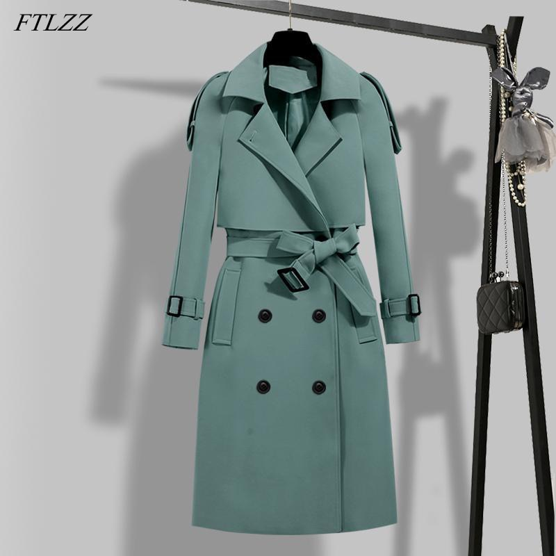FTLZZ New Autumn Winter Elegant Women Double Breasted Solid Trench Coat Vintage Turn-down Collar War