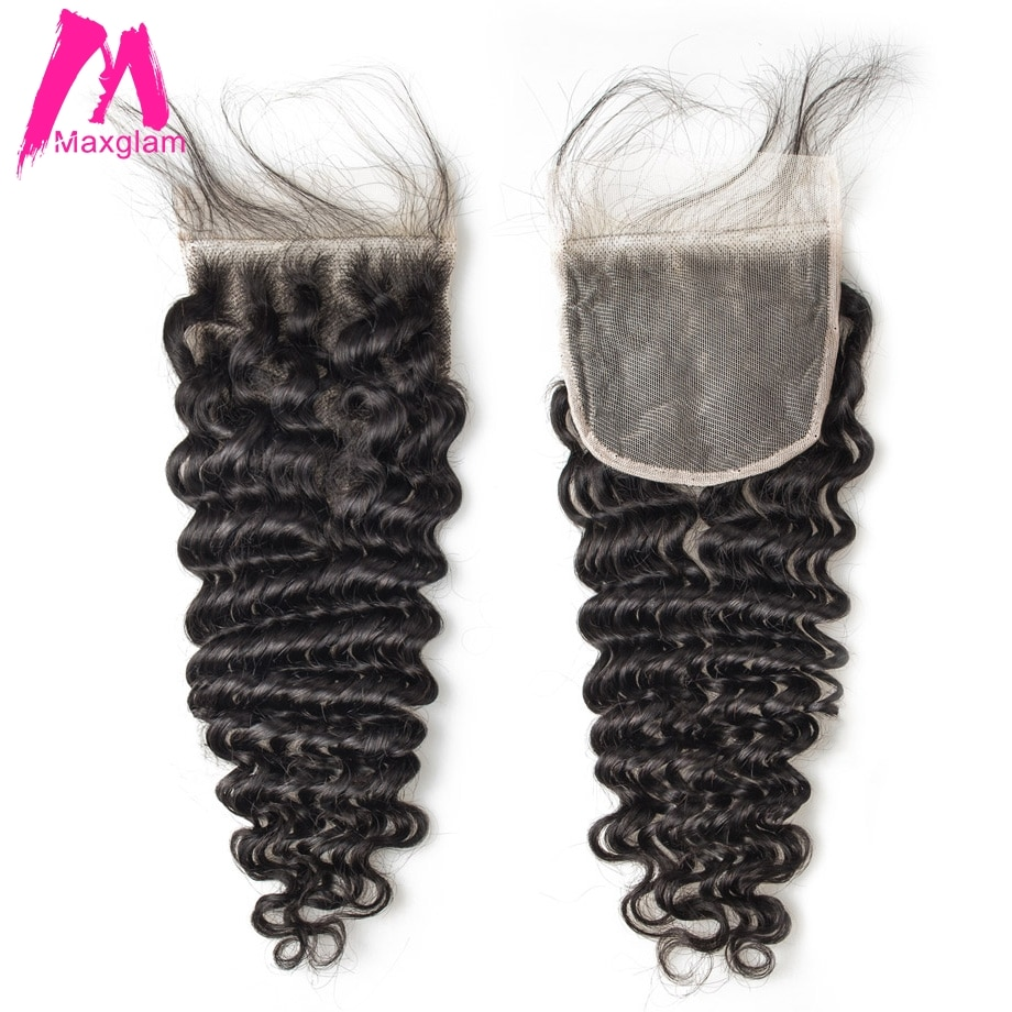 Deep Wave Closure Brazilian Human Hair 4x4 Lace Closure Frontal Natural Short Long Pre Plucked Remy Swiss Lace for Black Women