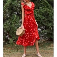 sleeveless red polka dot print dress women high waisted sweet ruffled slim fit summer elegant party romantic maxi dresses 2021