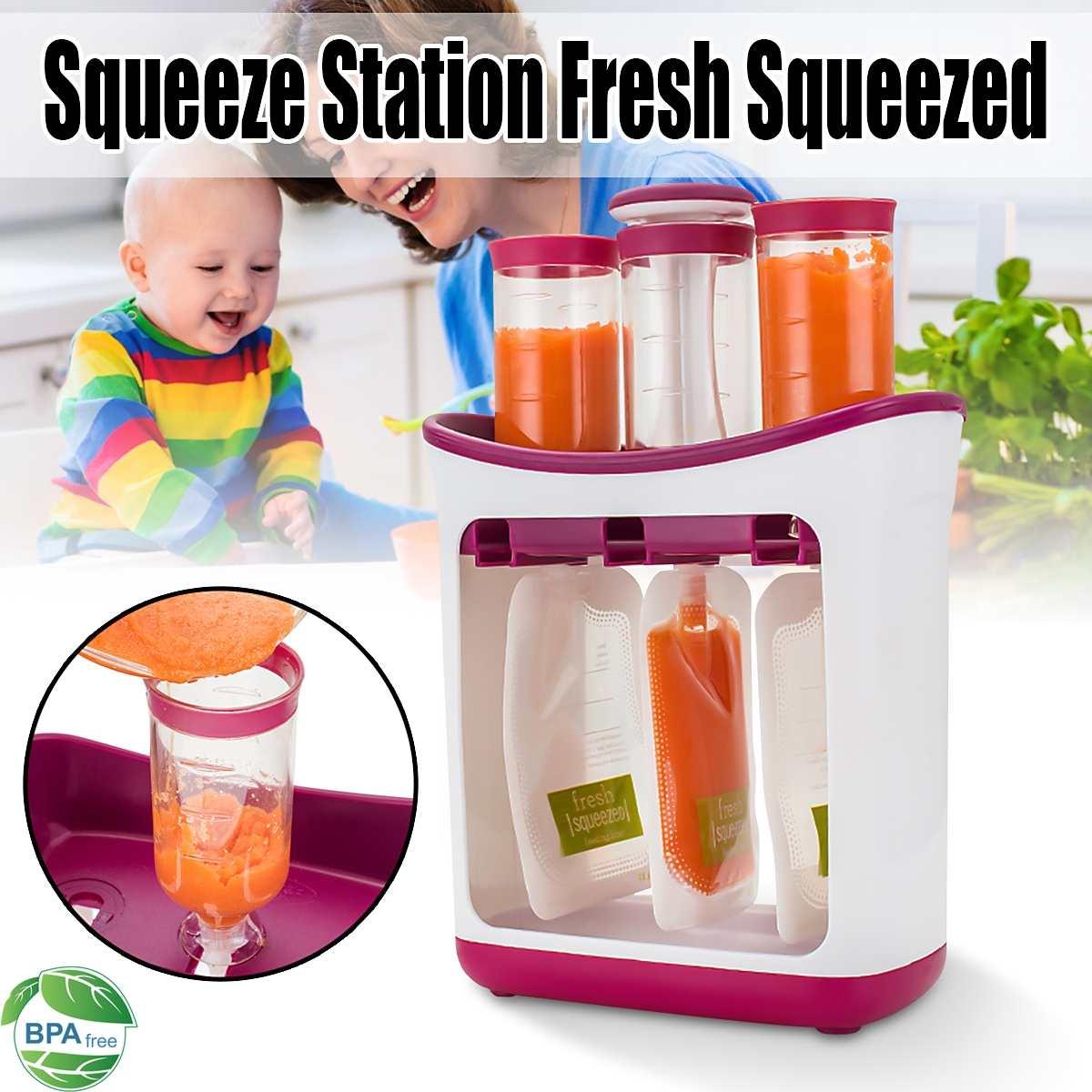 Estación exprimidora de alimentos para bebés en casa, estación para zumo de frutas con bolsitas, Kit de alimentación, máquina multifunción para alimentos de bebés, almacenamiento de alimentos