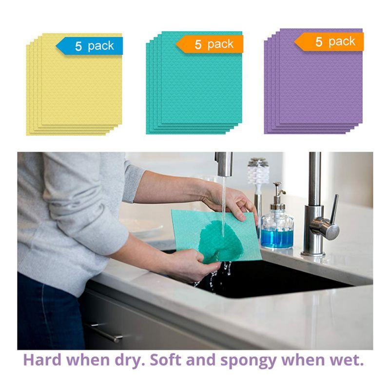 5 unids/pack paño de limpieza Super absorbente de algodón paño de cocina vajilla limpieza del hogar esponja lavavajillas paño de cocina