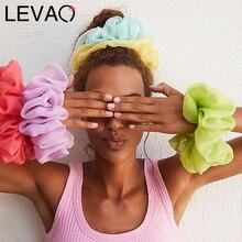 Levao Spring Summer Net Yarn Hair Bow Scrunchies Large Chiffon Women Elastic Hair Band Ponytail Holder Hair Tie Girl Accessories
