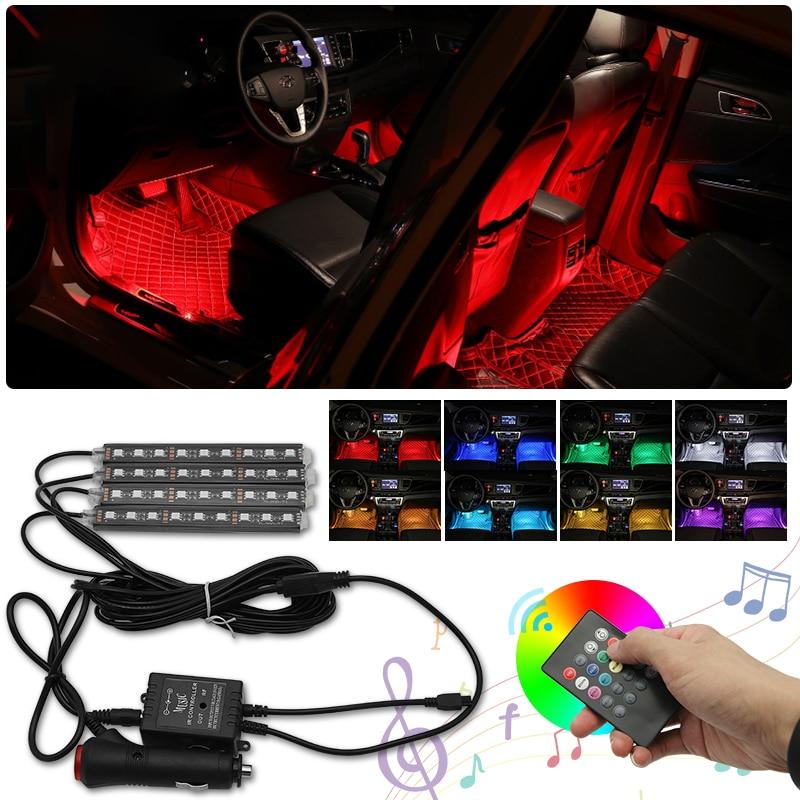 Luces Led RGB de estilo para coche, luces interiores de neón para Peugeot 206 307 308 407 208 207 3008 2008 508 408 4008