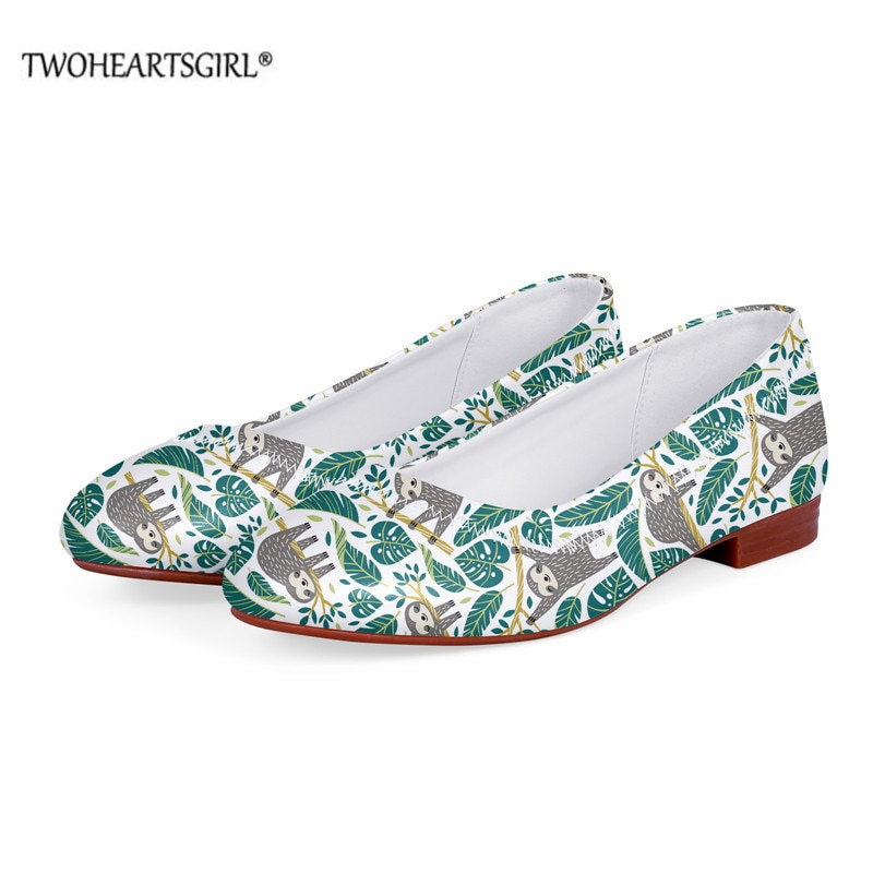 Twoheartsgirl Woman Shoes Cute Floral Sloth Print Classic Slip-on Flats Custom Leather Single Shoes