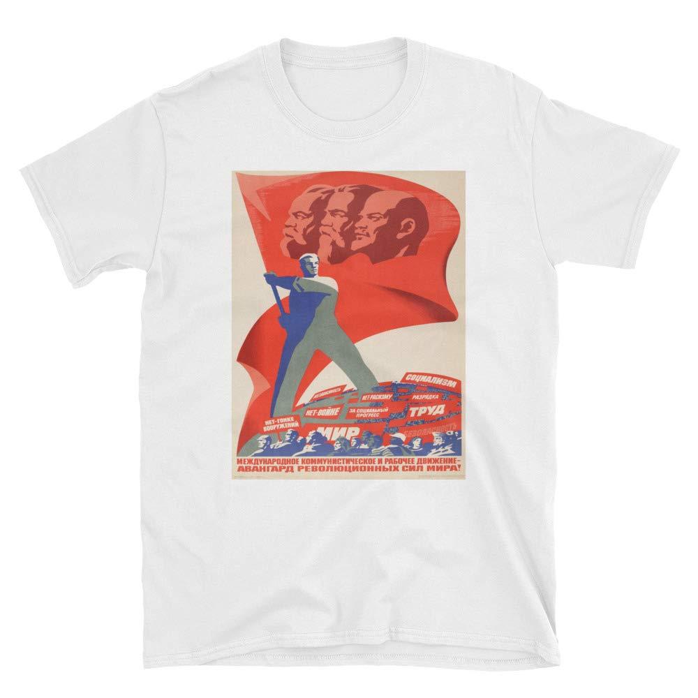 Vintage Propaganda soviética-1930 s-karl Marx Vladimir Lenin Rusia comunista camiseta Unisex