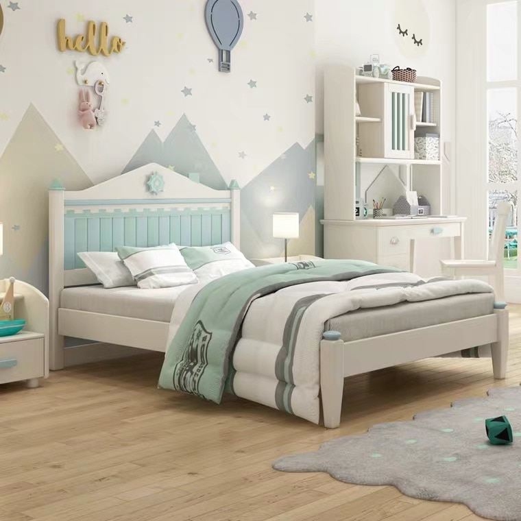 الأطفال سرير خشب متين مراهق الحديثة بسيطة سرير مفرد الشمال مزيج 1.35 متر نوم السرير جناح مجموعة اثاث