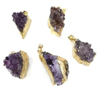 1pc natural stone irregular golden amethysts pendant necklace charms pendant for jewelry making diy necklace 18x37 22x42mm