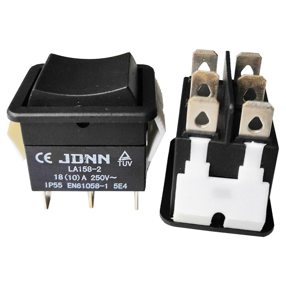 JDNN LA158-2 250V 10A 6Pin eléctrico impermeable doble interruptores oscilantes momentáneos para herramientas eléctricas accesorios partes, negro