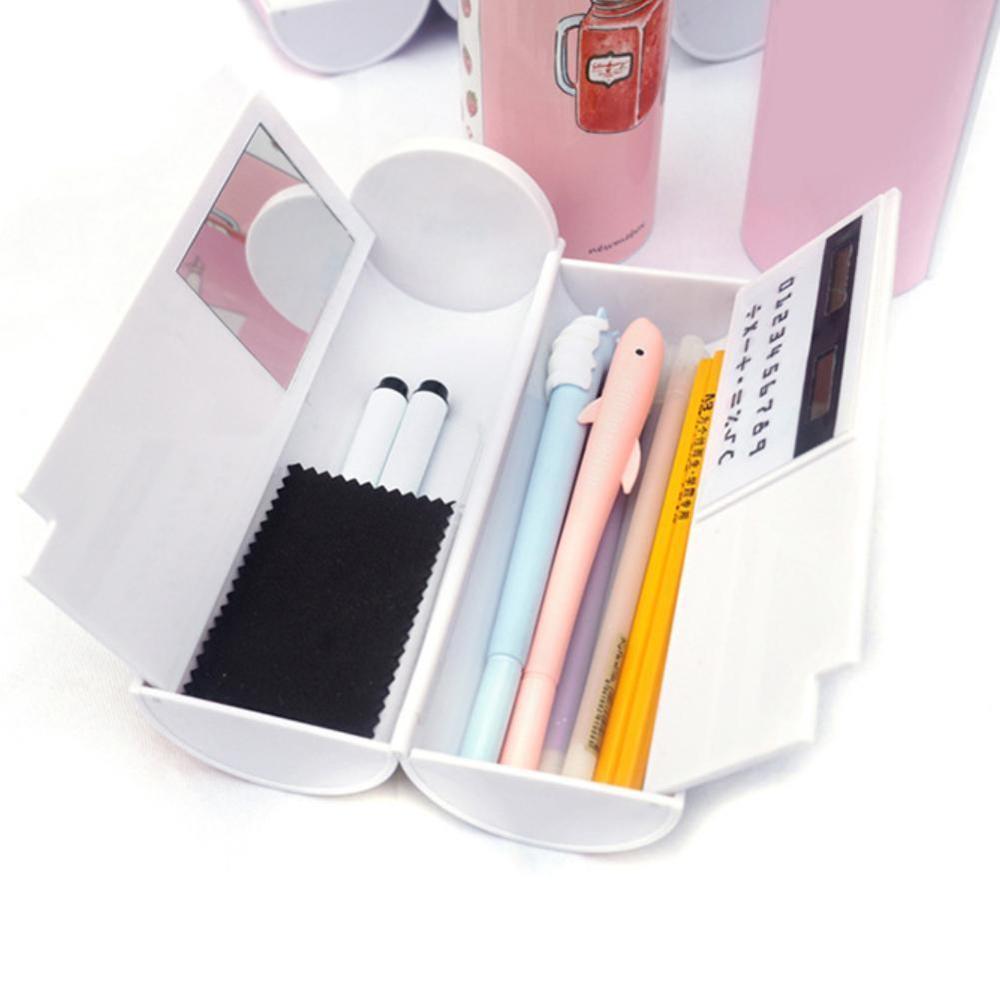 Новый кавайный чехол для карандаша двухслойная коробка для ручки с зеркальным калькулятором белая доска ручка стеклоочистителя для школьных принадлежностей косметический чехол etui