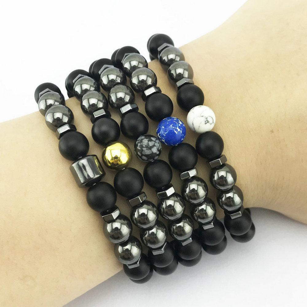 Men Bracelet Natural Black Stone Bracelet chakra Lava Stones Beads Diffuser Bracelets Women Jewelry Gift
