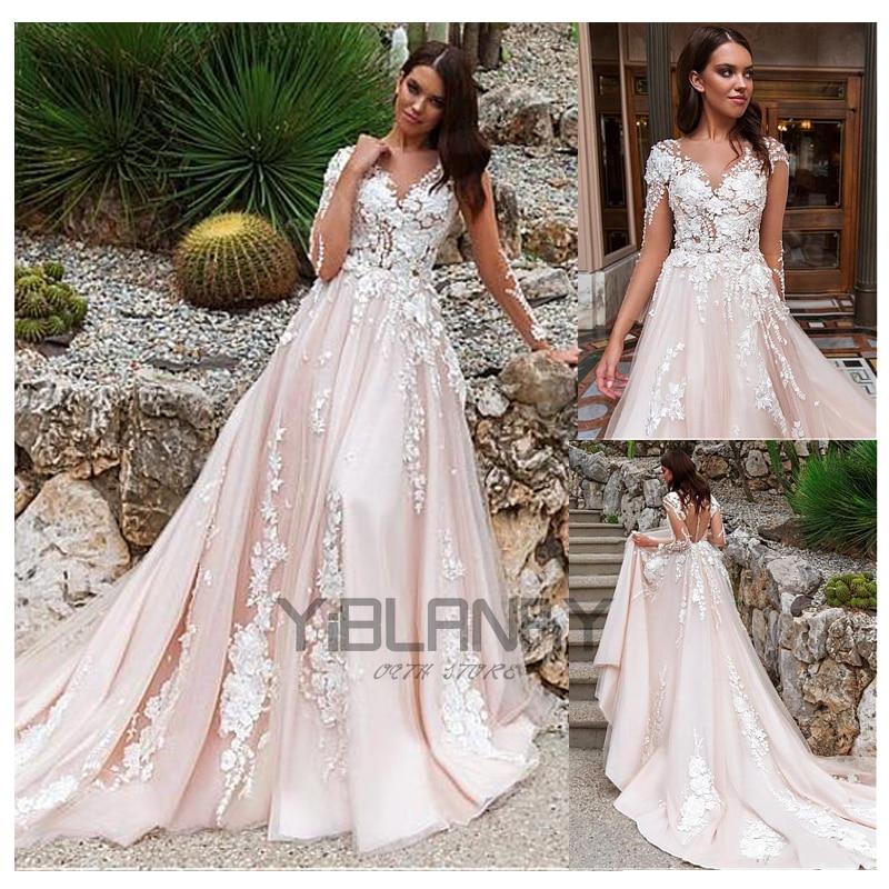 YILIBERE Lace wedding dress 3d flower atmosphere luxury long sleeve bridal dresses v-neck lace tailing big skirt