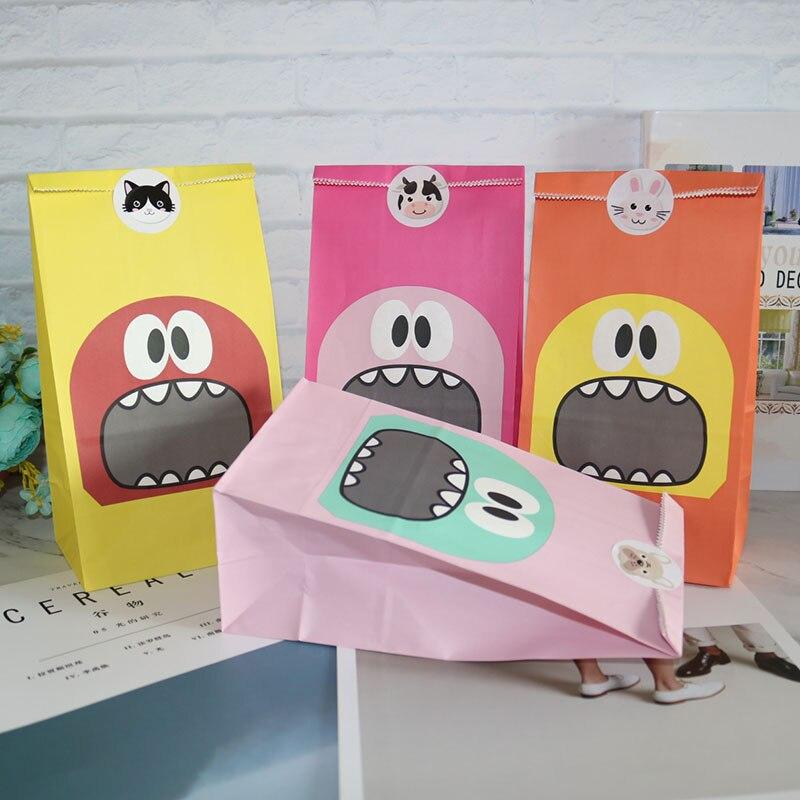8 cores boca grande saco de presente de papel levanta-se saco de sobremesa com etiqueta festa de aniversário aberto saco de embalagem de presente superior para convidados