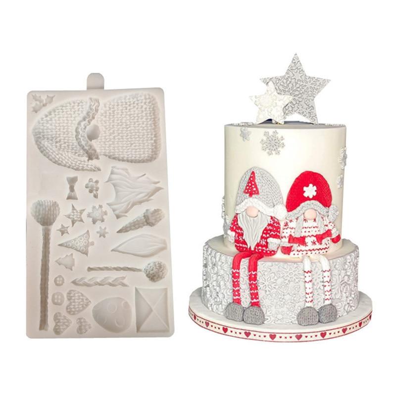 عيد الميلاد قزم سانتا كلوز قالب من السيليكون فندان قالب الكعكة الراتنج الجص الشوكولاته شمعة قالب الحلوي M174