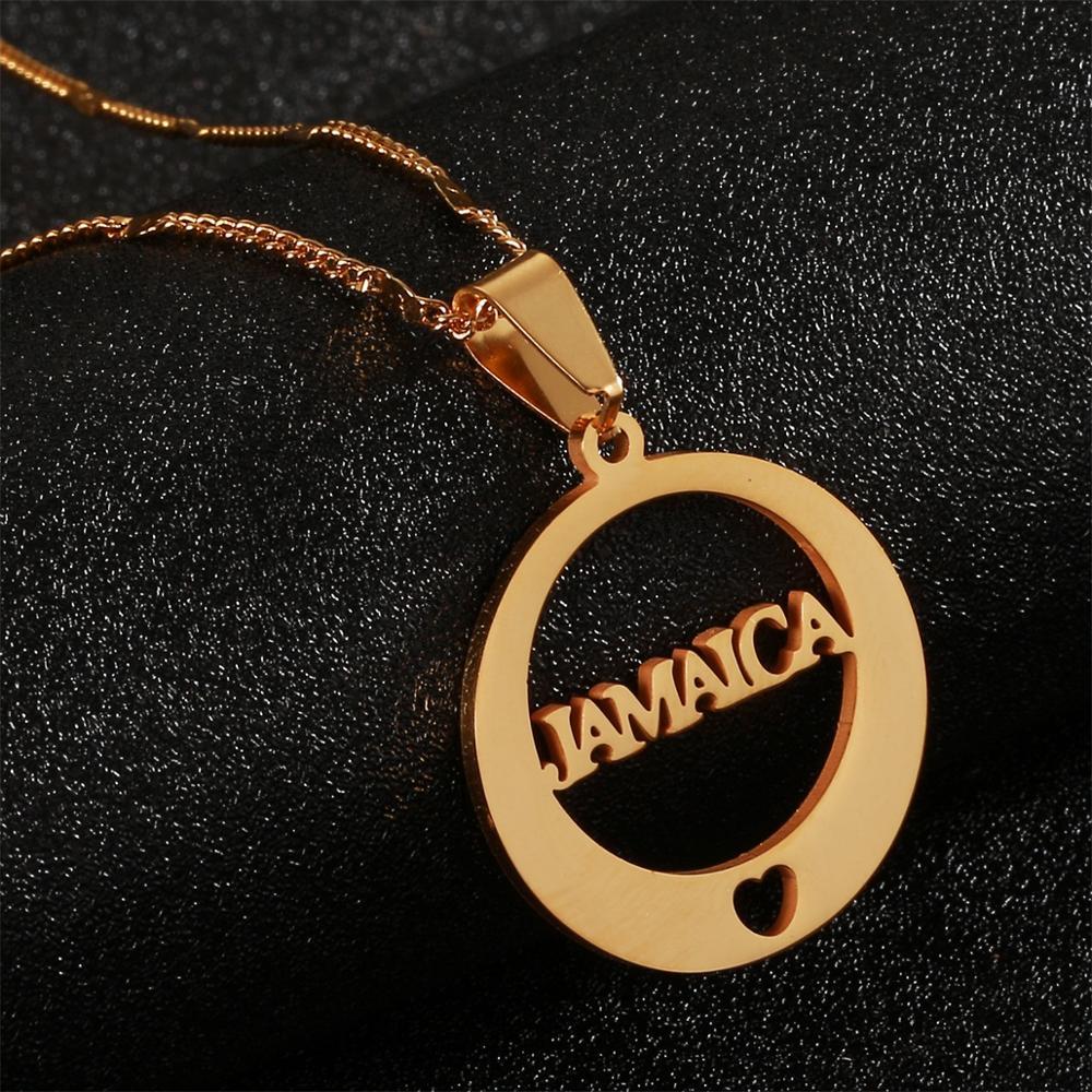 COLLAR COLGANTE de corazón jamaiquino Simple de acero inoxidable
