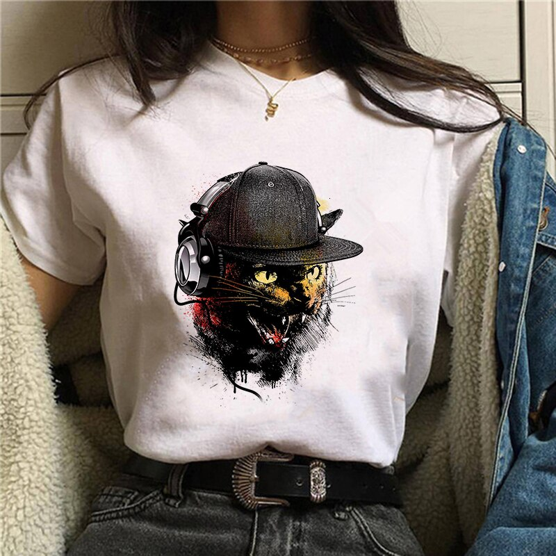 Newly Women T-shirt Cartoon Funny Cute Cat Print T shirt Femme Harajuku Kawaii Summer Tops Tee Shirt Tumblr Clothes