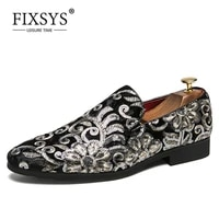 fixsys fashion men corduroy loafers hight quality embroidery pattern moccasins casual summer wedding smoking footwear boat shoes