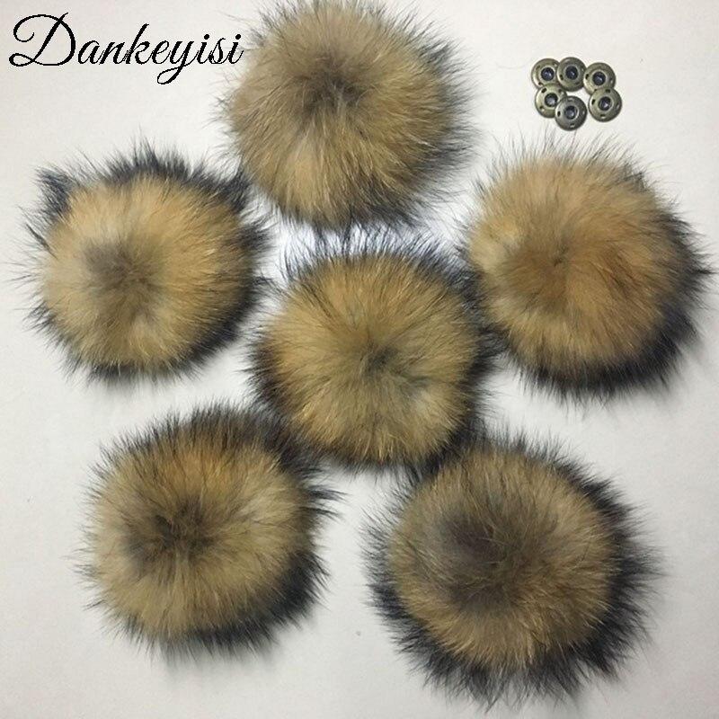 DANKEYISI pompones de piel al por mayor 13-17cm DIY mapache y piel de zorro pompones 20 unids/lote pompón de piel Natural para sombrero accesorio para bufandas