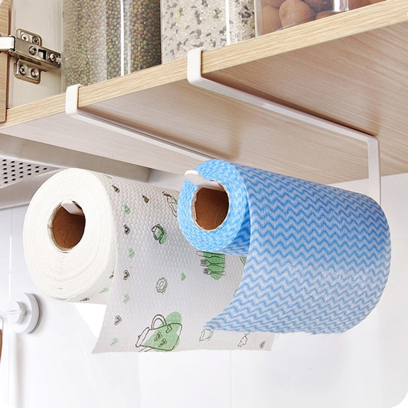 Armário de cozinha porta rack titular do banheiro toalete pendurado rolo papel toalha prateleira organizador do agregado familiar cozinha ferro tecido titular