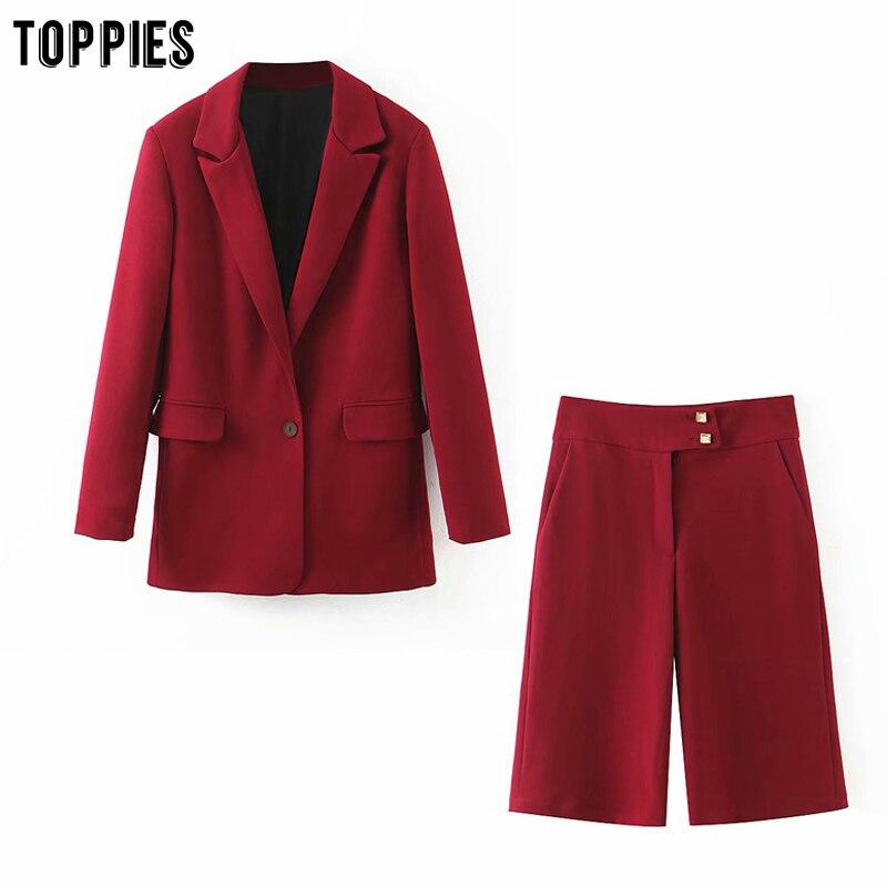 toppies summer sets womens suits set single button blazer jacket high waist knee length pants ladies shorts