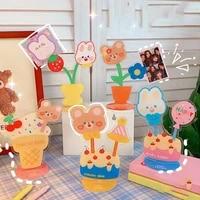 creative bear rabbit acrylic memo clip photo clip display stand hook home kawaii decoration card clip gift desk accessories