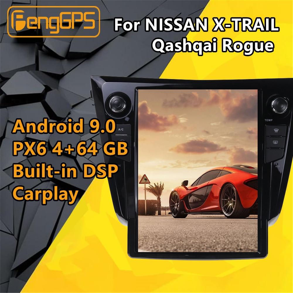 Para NISSAN X-TRAIL Qashqai Rogue 2013-2020 coche multimedia reproductor de Radio estéreo de Audio Android PX6 estilo Tesla GPS unidad principal de navegación BT