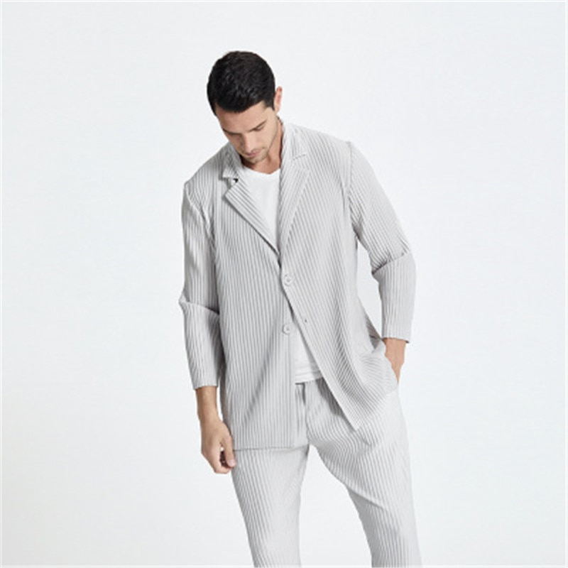 Miyake men's Japanese stretch fabric pleated clothing full collocation suit casual notched collar bl
