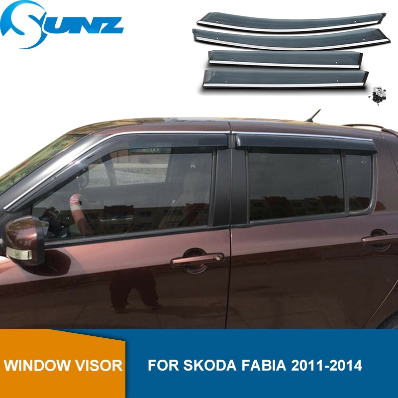 Deflectores de ventana lateral para Skoda Fabia 2011 2012 2013 2014 visera parasol de humo de ventilación Deflector de lluvia y sol protector SUNZ