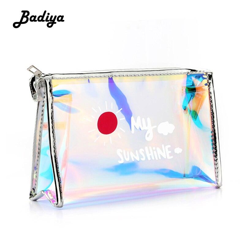 Saco cosmético a laser feminino bonito multifuncional à prova dwaterproof água colorido beleza caso senhoras organizador toiletry maquiagem sacos para viagens