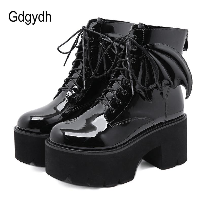 Gdgydh-حذاء نسائي بكعب عالٍ من الجلد اللامع ، حذاء نسائي بنعل سميك ، نمط الشرير القوطي ، مثير ، موديل محافظ