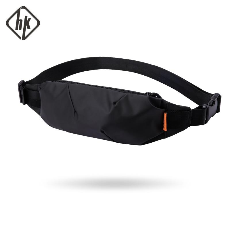 Hk Men Fanny Pack Teenager Outdoor Sports Running Cycling Waist Bag Pack Male Fashion Shoulder Belt