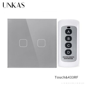 UNKAS EU Standard 2 Gang 1 Way Wireless Remote Control Touch Switch Remote Wall Light Switch With Crystal Glass Panel