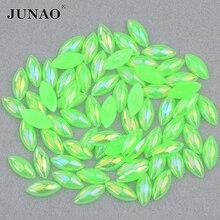 JUNAO 5*10 мм 7*15 мм Неоновый зеленый AB Flatback Pearl с лошадью из стразов глаз хрустальные полужемчужные наклейки для ювелирных изделий поделок своим...