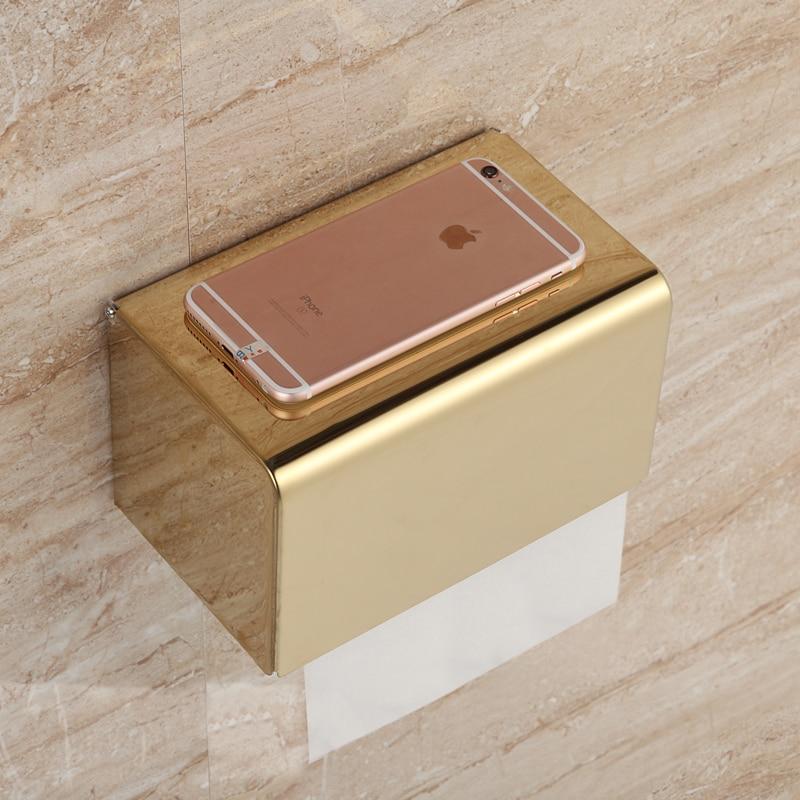 Golden Stainless Steel Rope Toilet Paper Holder Hotel Bathroom Tissue Accessories Rose Gold Rack Holder Decoration Supplies