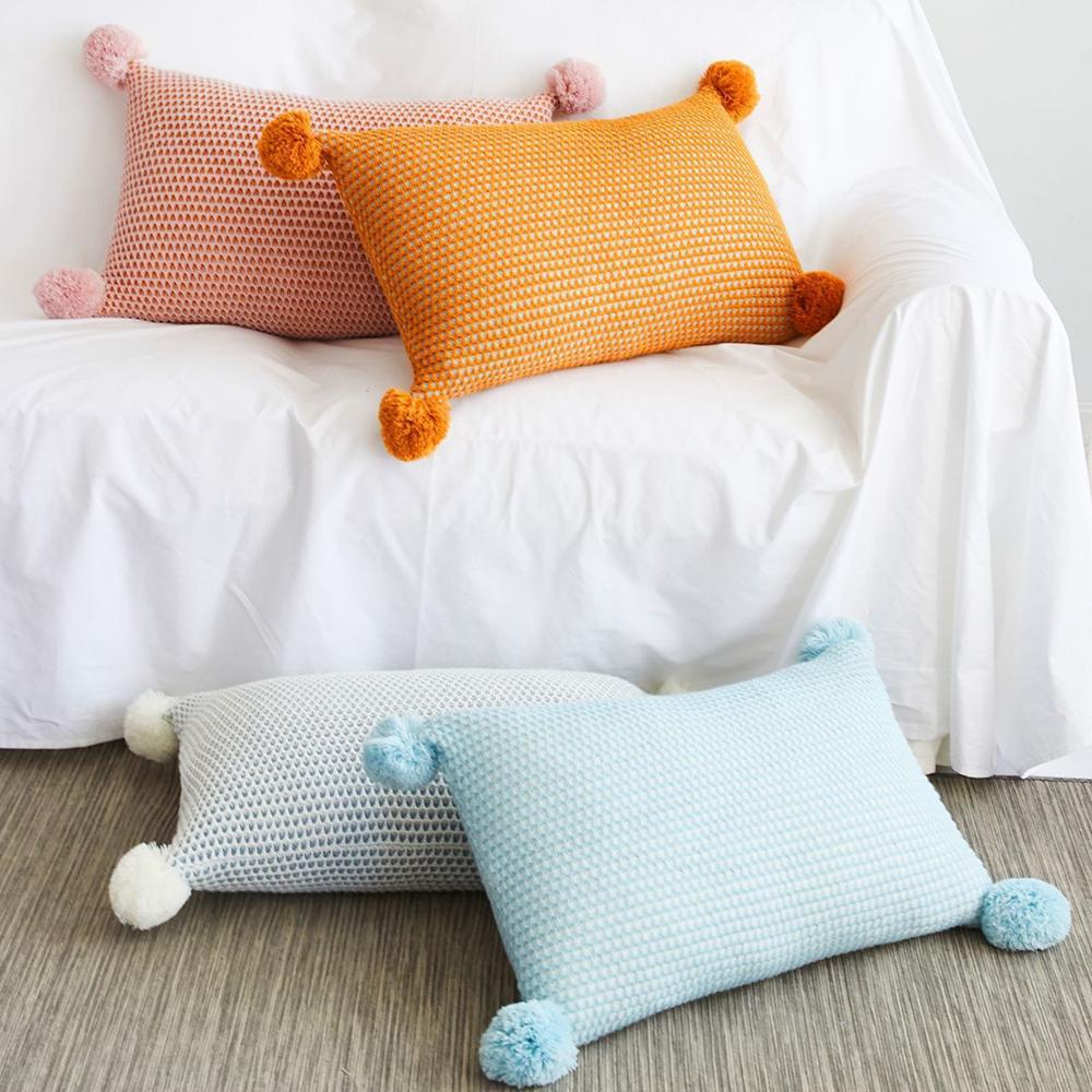 Streszczenie dzianiny poduszka CoverYellow różowy niebieski solidna poszewka na poduszkę z Pom Pom na sofę Home dekoracyjne 35*55cm poszewka na poduszkę