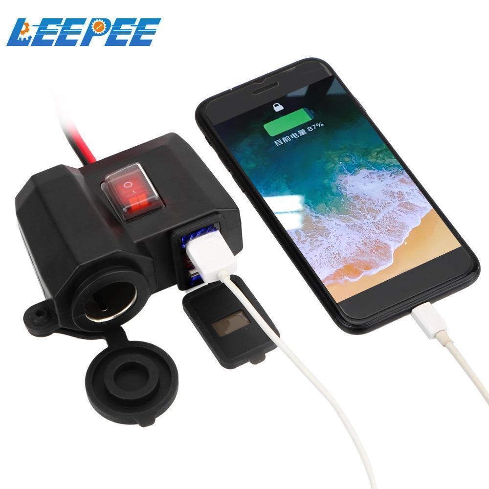 Digital Display 5V 2.1A Adapter Power Supply Motorcycle Handlebar Charger for Phone Dual USB Port Cigarette Lighter Socket