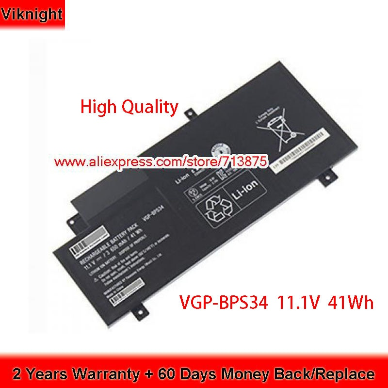 Brand New 11.1V 41Wh VGP-BPS34 Battery for Sony SVF15A1ACXS SVF15A1BCXB Laptop