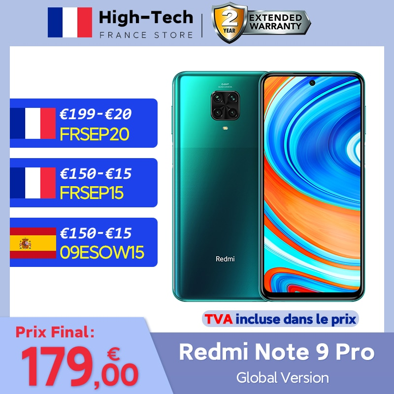 Global Version Xiaomi Redmi Note 9 Pro 6GB RAM 128GB ROM 64MP Quad Camera Mobile Phone Snapdragon 6.67