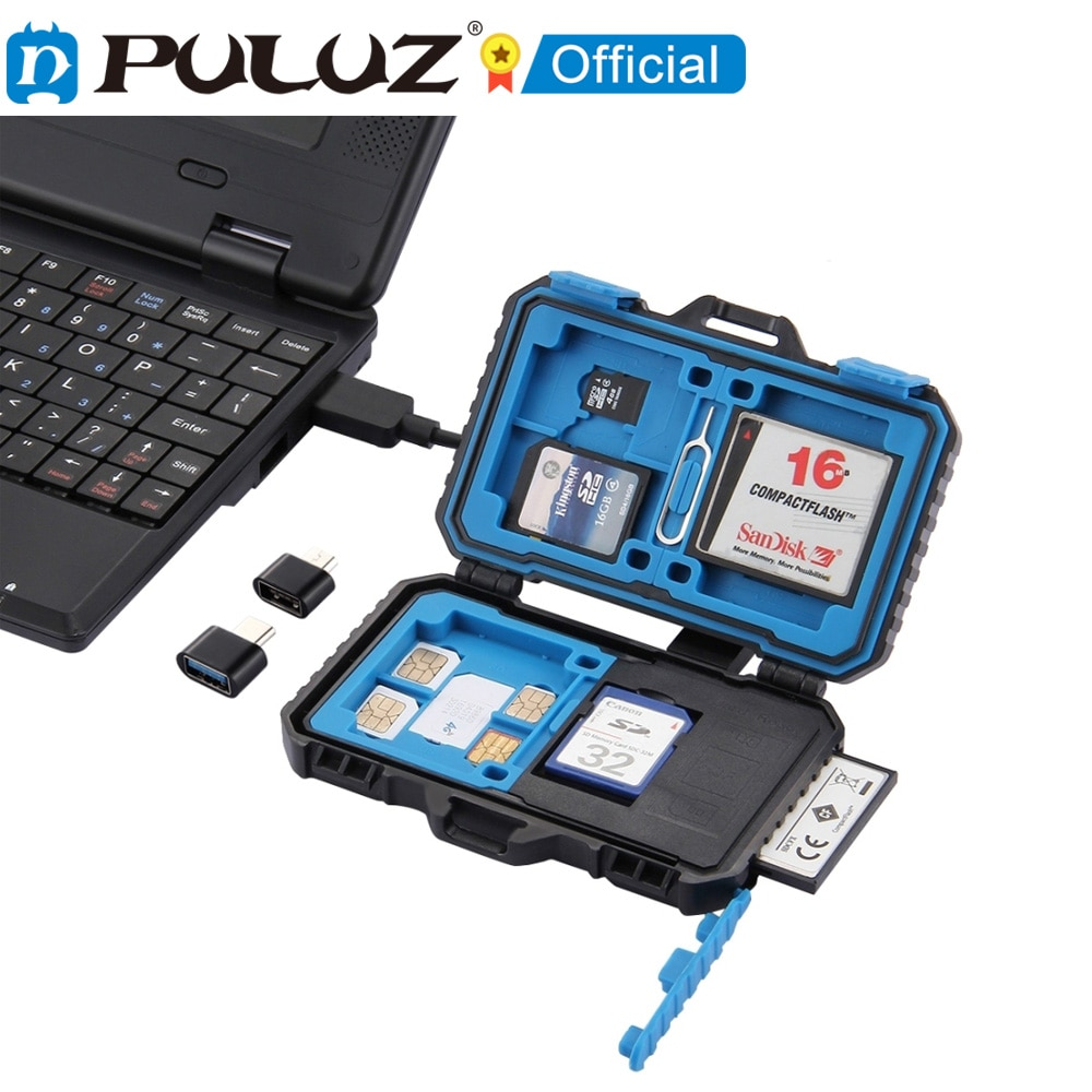 puluz card reader 22 in 1 waterproof memory sd card case storage box for 1standard sim 2micro sim 2nano sim 7sd 6tf 1card pin PULUZ-lector de tarjetas 22 en 1, funda de tarjeta de memoria para 1 SIM estndar + 2Micro-SIM + 2Nano-SIM + 3CF + 7SD + 6TF + 1