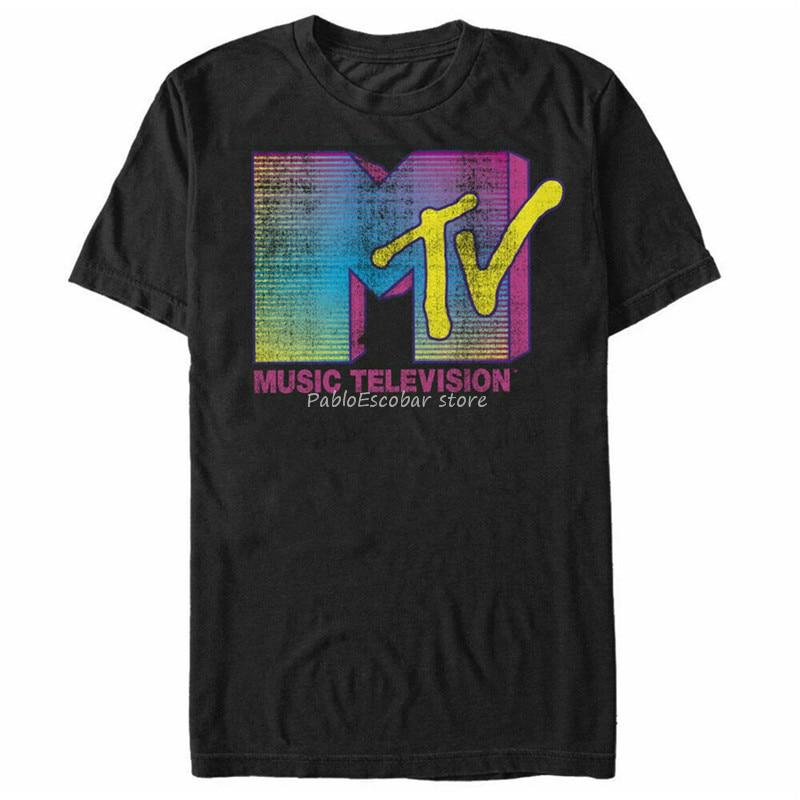 Camiseta gráfica con Logo de rayas Mtv para hombre 2Xl 13Xl camiseta nuevo diseño fresco para hombres camiseta de verano Camisetas de marca