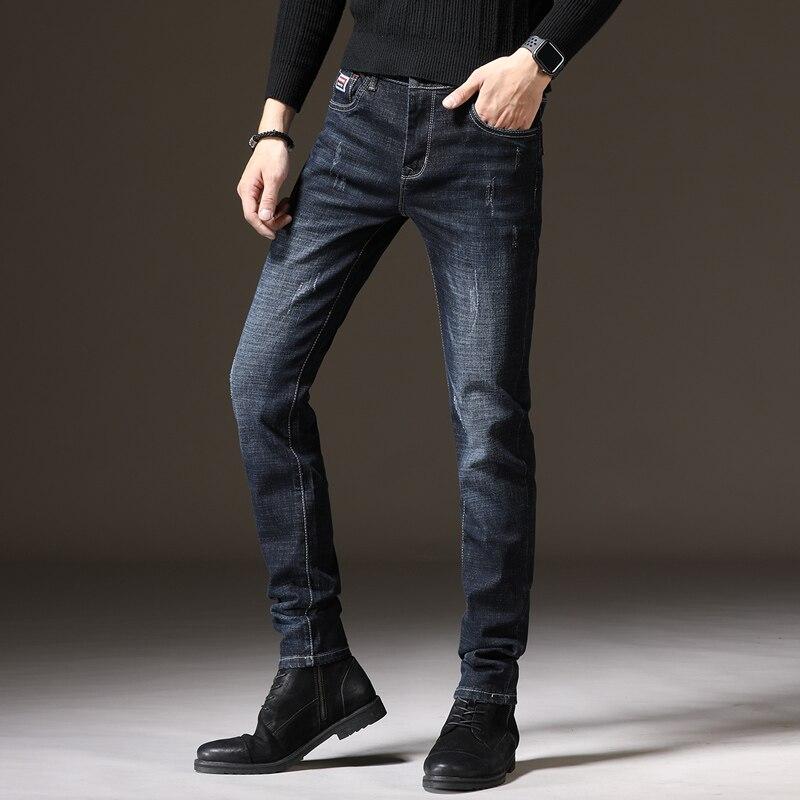 Джинсы мужские Стрейчевые и бархатные, теплые брюки из денима, плотные прямые облегающие деловые теплые, большие размеры, на зиму