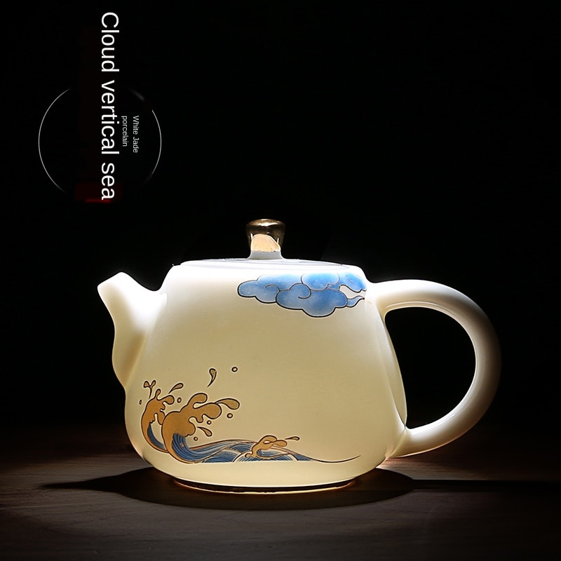 Blanco tetera de cerámica hecho a mano-Jade tetera de porcelana familia Kung Fu agua del té lanzador TeakettleEasy usar tetera